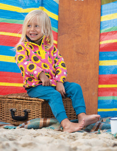 Frugi Little Snuggle Fleece Flamingo Sunflowers