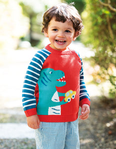 Frugi Wilfred Knitted Jumper Koi Red/Dino