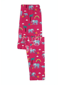 Frugi, Libby Printed Leggings, Deep Pink Rainbow Walks