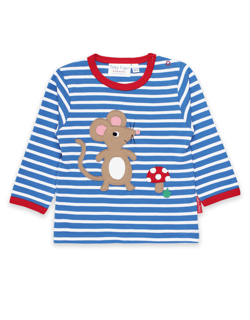 Toby Tiger Organic Mouse And Mushroom Applique Long SleeveT-Shirt Blue - The Thrifty Stork