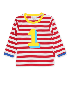 Toby Tiger Organic Number 1 Applique Red Stripe Long SleeveT-Shirt Red - The Thrifty Stork