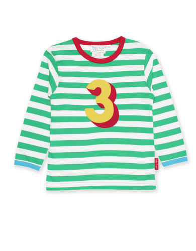 Toby Tiger Organic Number 3 Applique Green Stripe Long SleeveT-Shirt Green - The Thrifty Stork