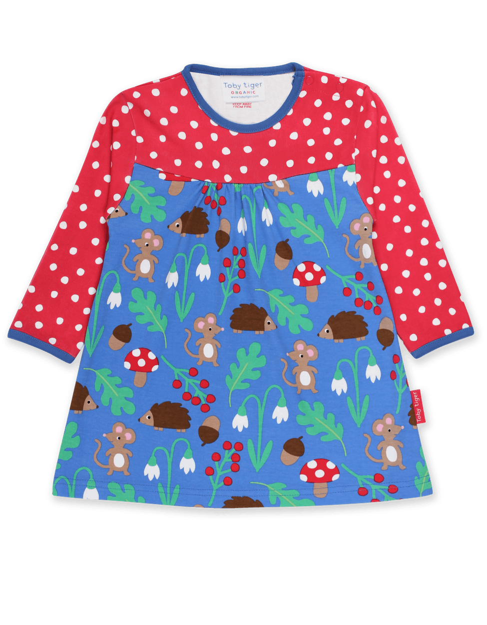 Toby Tiger Organic Dress Long Sleeve - Woodland Blue