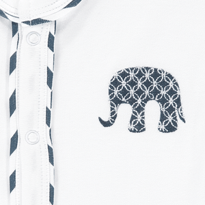 Lily & Mortimer Base White White/Navy Stripe Navy Elephant - The Thrifty Stork