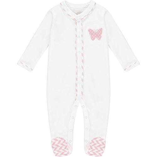 Lily & Mortimer, Base White, Pink/White Stripe/Pink Butterfly