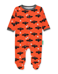Toby Tiger Organic Babygrow Long Sleeve - Bat Orange