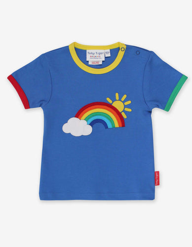 Toby Tiger Organic Applique T-Shirt Short Sleeve - Rainbow Sun Cloud