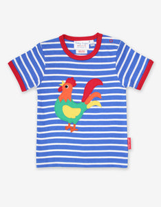 Toby Tiger Organic Applique T-Shirt Short Sleeve - Cockerel