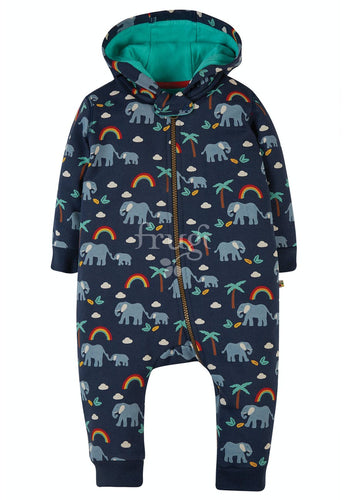 Frugi Snuggle Suit - Indigo Rainbow Walks