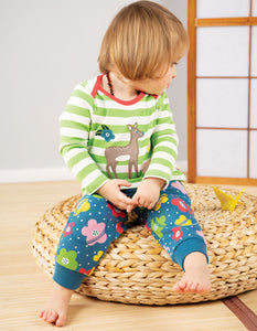 Frugi Snuggle Crawlers Steely Blue Floral Spot
