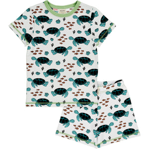 Maxomorra Meyadey Pyjama Set Short Sleeve - Turtle Tide
