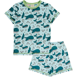 Maxomorra Meyadey Pyjama Set Short Sleeve - Whale Waters