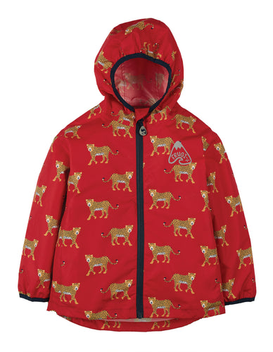 Frugi, Rain Or Shine Jacket, True Red Leopards