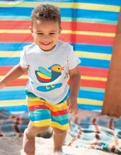 Frugi Little Stripy Shorts Multi Rainbow Stripe