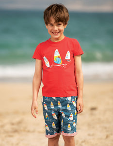 Frugi Reuben Reversible Shorts Steely Blue Ride The Waves