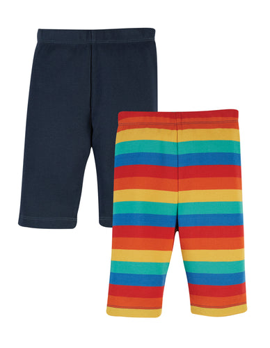 Frugi, Laurie Rib Shorts 2 pack, India Ink Multistripe/Ink