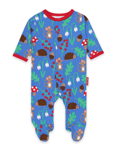 Toby Tiger Organic Sleepsuit With Feet Long Sleeve - Woodland Blue