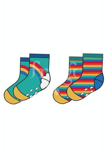 Frugi, Grippy Socks 2 Pack, Pacific Aqua Rainbow
