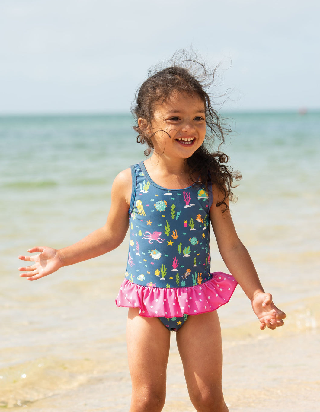 Frugi Little Coral Swimsuit Rainbow Reef