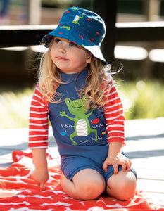 Frugi Little Sunsafe Suit Steely Blue/Frog