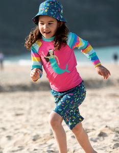 Frugi Sun Safe Rash Vest Flamingo/Mermaid