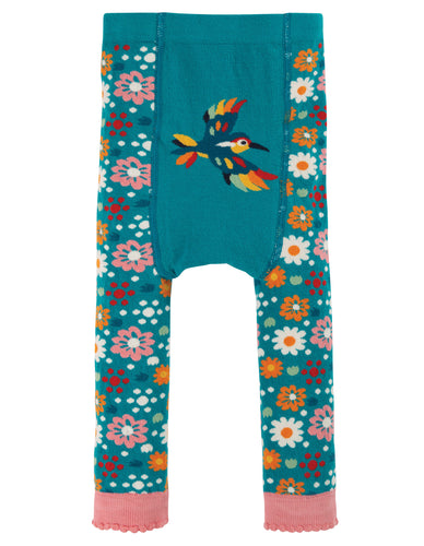 Frugi Little Knitted Leggings - Loch Blue Flowers - New Release