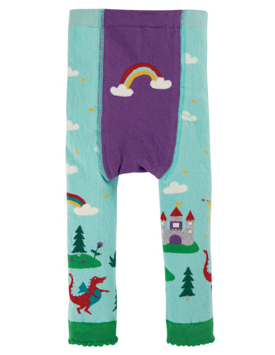 New Release Frugi Little Knitted Leggings Shore Blue/Dragons - The Thrifty Stork