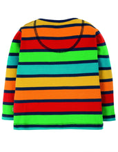 Frugi  Button Applique Top Bumble Rainbow Stripe/Tractor