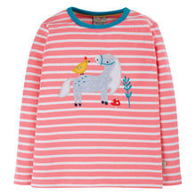 Frugi Discovery Applique Top Long Sleeve - Guava Pink Stripe/Horse - Indie Exclusive