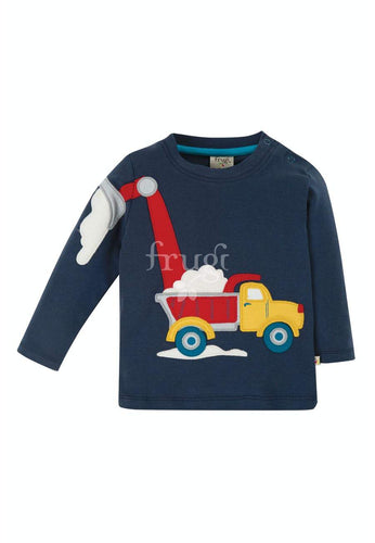 New Release Frugi Doug Applique Top Indigo/Truck - The Thrifty Stork