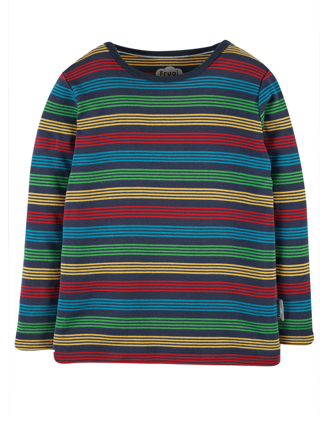 New Release Frugi Favourite Long Sleeve T-Shirt Tobermory Rainbow Stripe - The Thrifty Stork