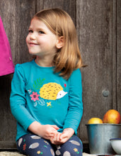 New Release Frugi  Little Alana Applique Top Tobermory Teal/Hedgehog