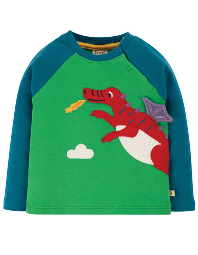 Frugi Little Albert Applique Top Long Sleeve - Glen Green Dragon - New Release