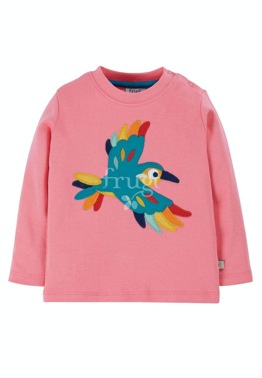 New Release Frugi Little Discovery Applique Top Guava Pink/Bird - The Thrifty Stork