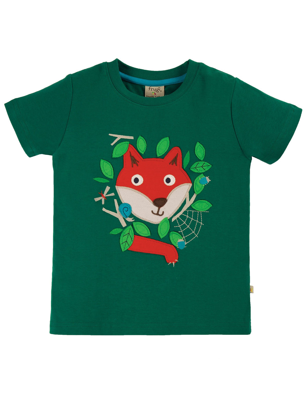 Frugi  James Applique T-Shirt Scots Pine/Fox