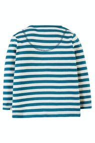 Frugi Ira Interactive Applique Top Long Sleeve - Loch Blue Stripe Castle - New Release