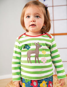 Frugi Bobby Applique Top Kiwi Stripe/Deer