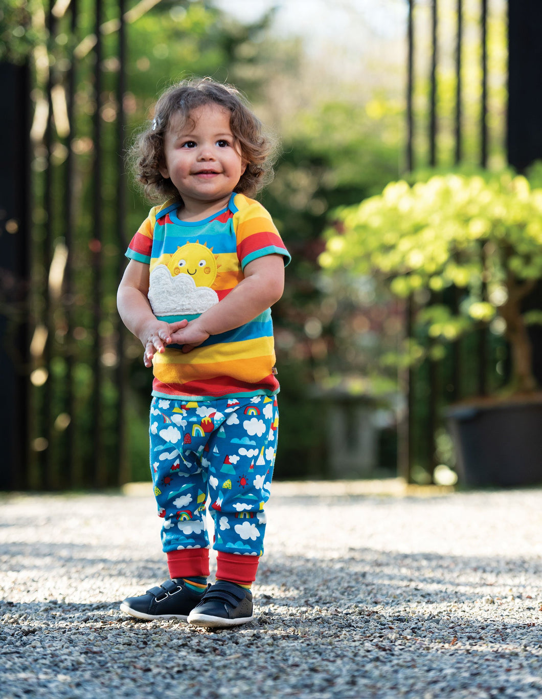 Frugi Bobster Applique Top Rainbow Multi Stripe/Sun