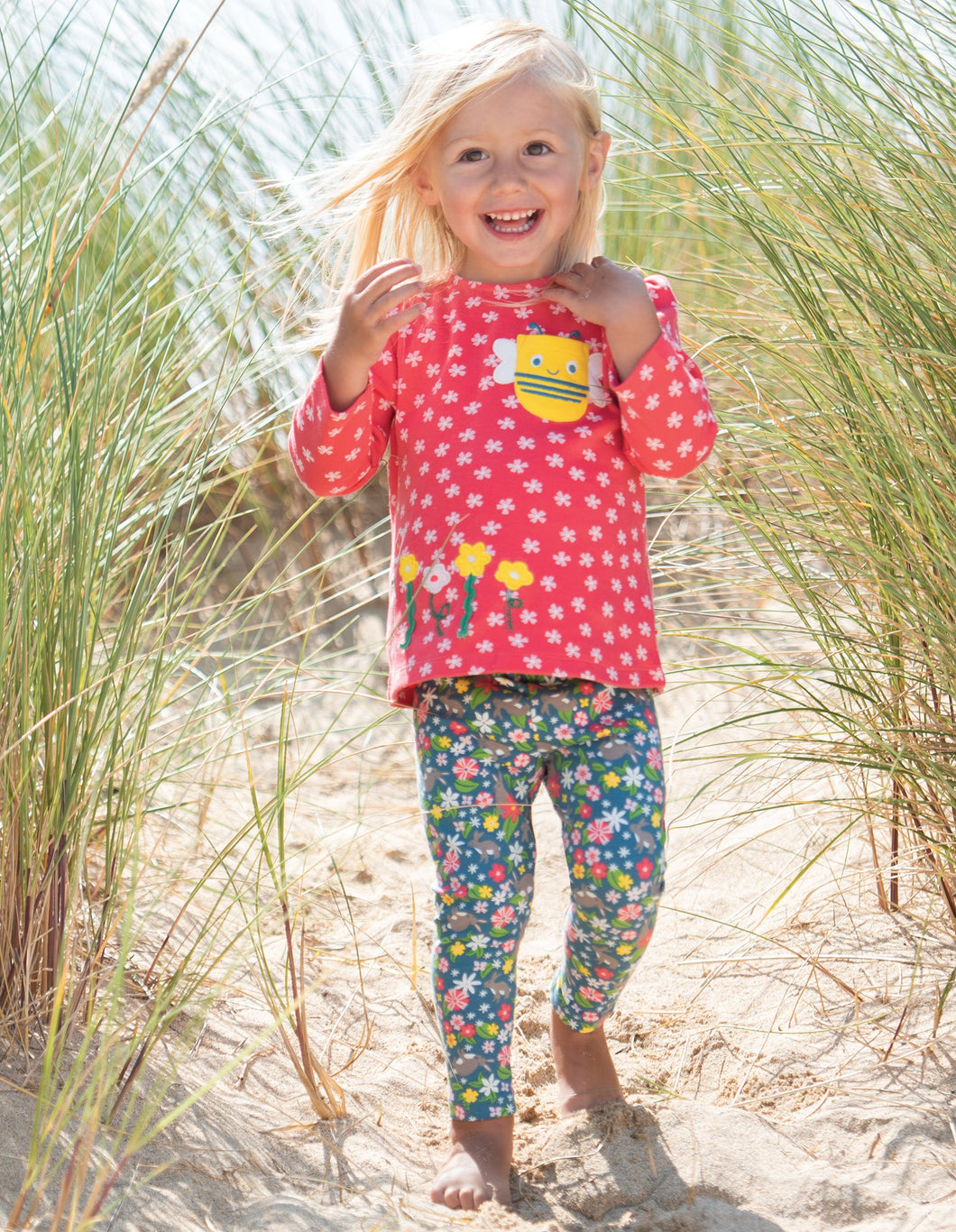 Frugi Connie Applique Top Watermelon Cherry Blossom/Bee