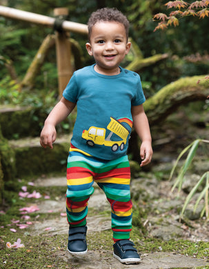 Frugi Scout Applique Top Steely Blue/Truck