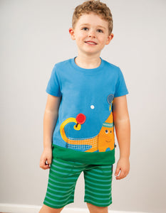 Frugi Dane Applique Top Motosu Blue/Octopus