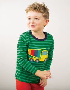 Frugi Discovery Applique Top Ribbit Green Stripe/Truck