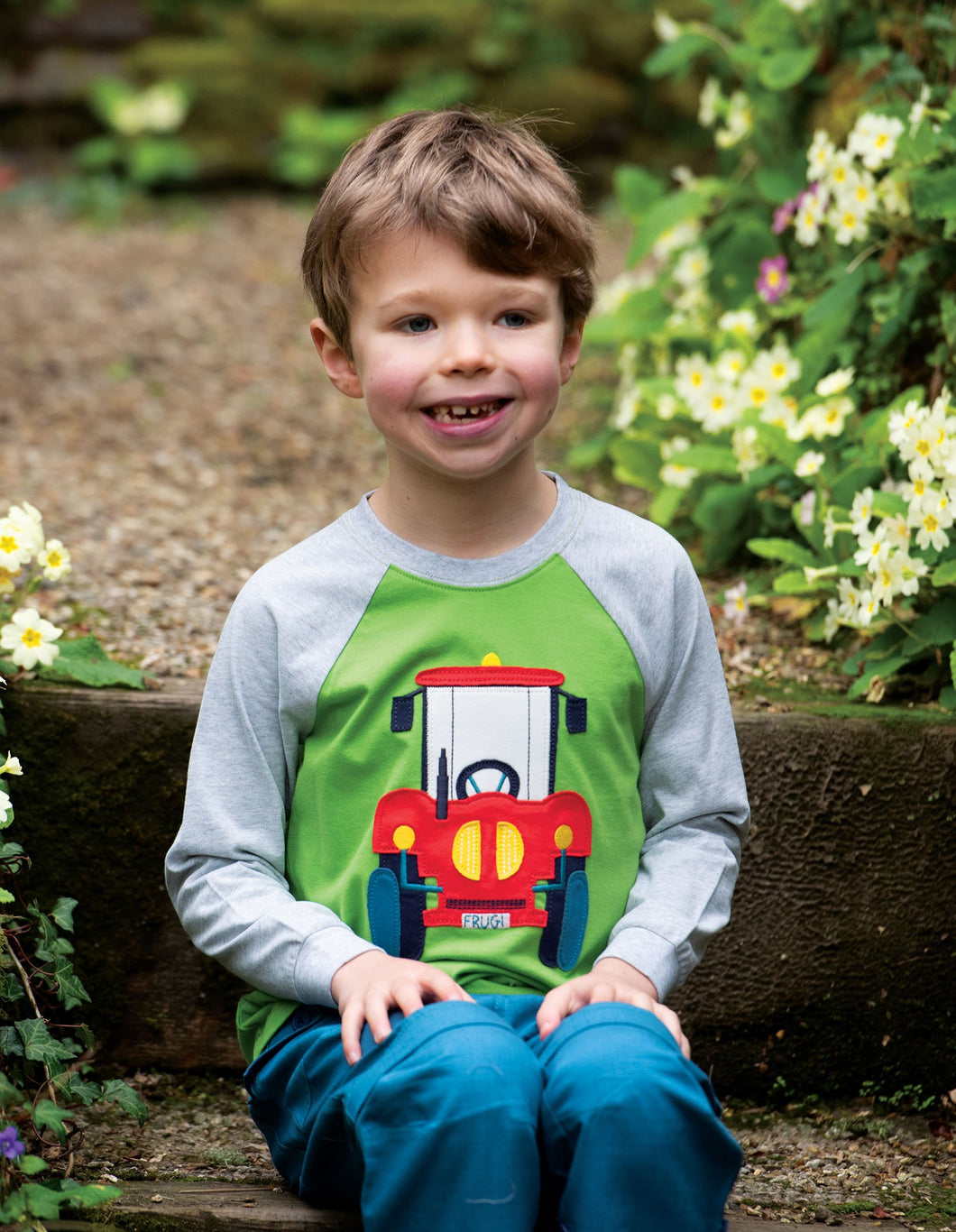 Frugi Jake Applique Top Kiwi/Tractor