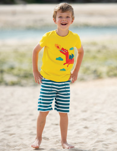 Frugi James Applique T-Shirt Sunflower/Dragon