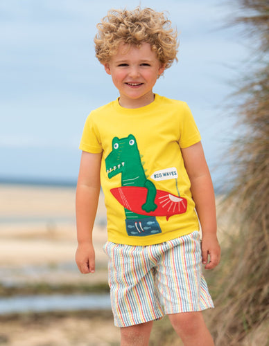 Frugi James Applique T-Shirt Sunflower/Croc