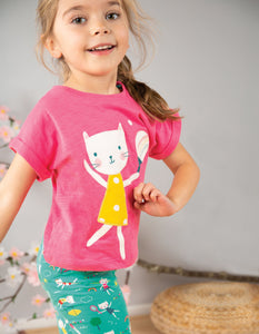 Frugi Sophia Slub T-shirt Flamingo/Cat
