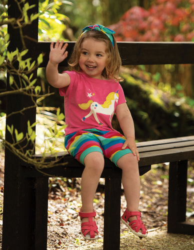 Frugi Sophia Slub T-Shirt Flamingo/Unicorn