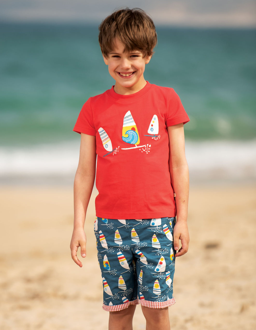 Frugi Stanley Applique T-Shirt Koi Red/Boats