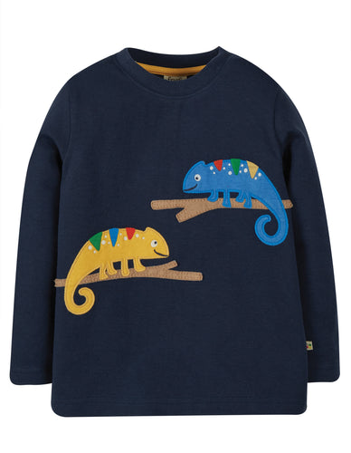 Frugi Adventure Applique Top Long Sleeve - Indigo/Chameleon