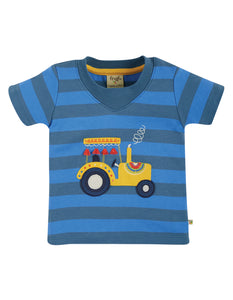 Frugi, Easy On Tee, Blue Stripe/Tractor